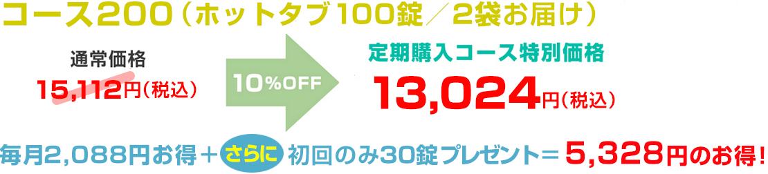 コース200 ホットタブ100錠/2袋お届け定期コース